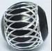 Aluminium ronde kraal gegraveerd zilver/zwart